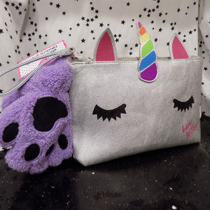 Unicorn Betsey Johnson Cosmetic Bag w/ Gloves NEW